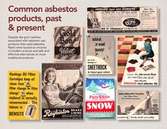 Common asbestos products, past & present. Despite the grim realities associated with asbestos use, products that used asbestos fibers were touted as miracles of modern science and safe and effective alternatives to more traditional products. If you have been exposed to asbestos, or want to learn more about what asbestos is and its potential dangers, call 800-563-1298 or visit http://awe.sm/b15Pp.
