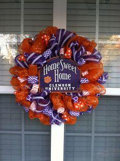 Clemson mesh wreath