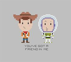 Toy Story Cross Stitch Pattern Woody Buzz by goodmorningmaui Cross Stitching, Cross Stitch Embroidery, Embroidery Patterns, Woody E Buzz, Pixel Art, Stitch Toy, Toy Story Crafts, Disney Cross Stitch Patterns, Crochet Beanie Pattern