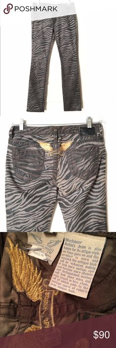 "Robin's Jeans Marilyn Zebra Print w Gold Wings Authentic women's Robin's Jeans are low rise & feature a zebra print & signature gold wings. Marilyn straight leg. Marked size 29, but I'm listing them as 28 because they run small (I tried them on). Front rise 7.5"", back rise 10.5"", hips 37"", inseam 33"", out seam 42.5"", leg opening 14"". Stretchy. Made in the USA, LA based brand. They retail from $229 to $599 in stores like Saks Fifth Avenue & Neiman Marcus. Brand new, straight from…"