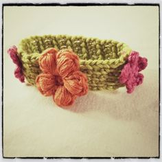 Crochet Tunisian Flower Bracelet - Tutorial
