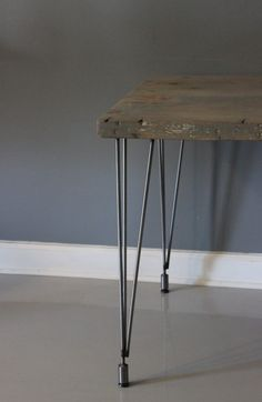 Gray Wood TableDining TableMidCentury Hairpin LegsFree by DendroCo