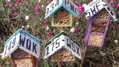 license plate bee houses - safe housing for a variety of pollinating bees that tend to be solitary (but nest near others)
