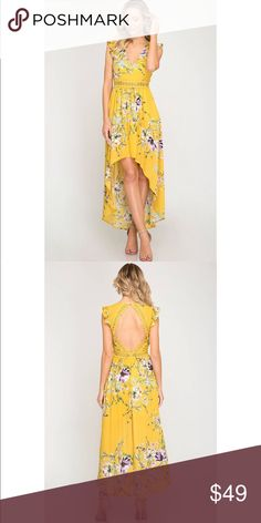 48beacd1d0d Mustard Floral Print Hi-Low Maxi with Open Back Short ruffle sleeve floral  print hi