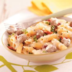 Mushroom Pasta Carbonara Recipe -I absolutely love this creamy and cheesy recipe. I serve it with a side salad and rolls to make a complete meal. —Cindi Bauer, Marshfield, Wisconsin