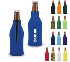 Put a snug, insulating jacket on your beverage with this zipper bottle foam beverage insulator with screen printed imprint. Building brand awareness is easy with this promotional item. It features both style and functionality and is designed to keep your bottles cool and your hands dry. It's perfect for tailgating parties, corporate picnics, backyard barbeques and more! Add an imprint of your name, logo and advertising message and put your brand directly in clients hands with this promo ...