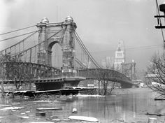 This photo by Betty Taylor Ross shows the Roebling Bridge from the Covington side of the Ohio River. Cincinnati Library, Cincinnati Baseball, Cincinnati Reds, The Buckeye State, My Old Kentucky Home, Ohio River, Historical Architecture, Old Pictures, Historical Photos