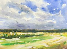 Field and Sky Watercolor Painting Lesson 2