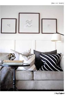 Was searching for colorful styling ideas for our gray couch, but I love this black and white look