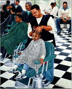 The similarity in that smile is insanely crazy ~ The Barbershop Black Love Art, Black Girl Art, My Black Is Beautiful, Black Man, African American Artwork, African Art, American Artists, Caricatures, Black Art Pictures