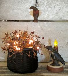 Primitive Lighted Basket Arrangement with by WillowBPrimitives