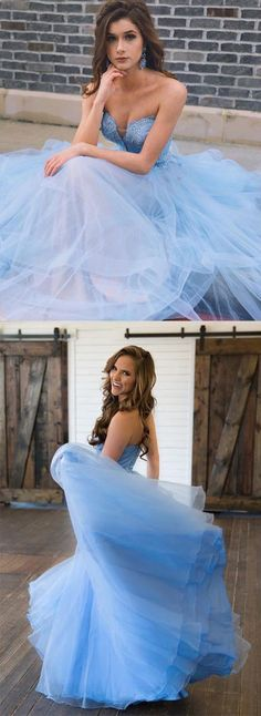 Sky Blue Tulle Long Sweetheart A line Lace Top Prom Dresses #lightblue #tulle #sweetheart #long #gown #prom #okdresses