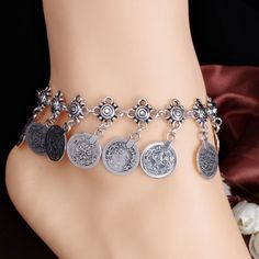 Anklet Jewelry Ethnic Flower Coin Pendant Anklet – Legacy Looks - Gender: For Women Style: Trendy Shape/Pattern: Floral Length: Weight: Package Contents: 1 x Anklet I Love Jewelry, Body Jewelry, Women Jewelry, Fine Jewelry, Jewelry 2014, Natural Jewelry, Cheap Jewelry, Jewelry Ideas, Jewelry Box