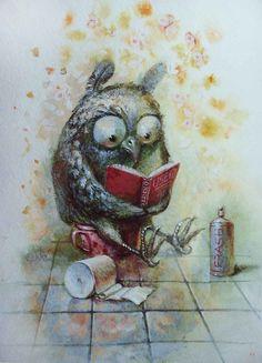 reading owl by Paul Kulsha Owl Bird, Bird Art, Whimsical Owl, Owl Illustration, Paper Owls, Owl Pictures, Beautiful Owl, Wise Owl, Cute Art