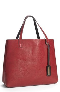 Street Level Reversible Faux Leather Tote & Wristlet (Juniors) available at #Nordstrom Great cheap travel tote. Coral color.