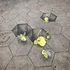 David Zinn, USA, 2016 Bees disappearing on us
