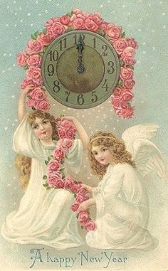 Vintage happy new year angels