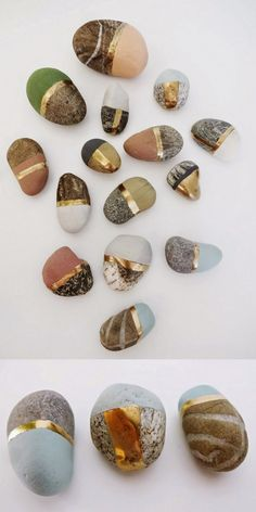 DIY Painted StonesPaint special found stones with chalk and metallic paint. Give these small painted stones away, make a treasure stone display, or group them in a shadowbox.  Find a homemade recipe for chalk paint and more photos of these DIY Painted...