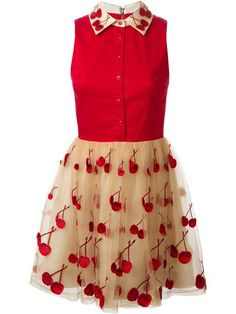 Alice+olivia Cherry Embroidered Combo Dress - Apropos The Concept Store - Farfetch.com