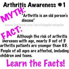 """Arthritis....I was one of those children...teen....and now adult  And I HATE it when people say """"but your too young for arthritis!!!"""""""