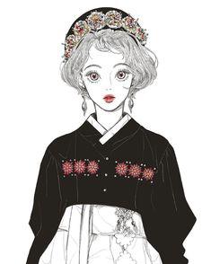 #낙서#그림#일러스트#black#한복#생활한복 Pretty Art, Cute Art, Character Illustration, Illustration Art, Character Art, Character Design, Kawaii, Manga Drawing, Manga Girl