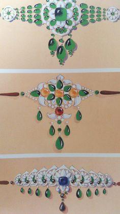 Designs of Bazubands (armbands) for Maharaja of Patiala by Boucheron 1928