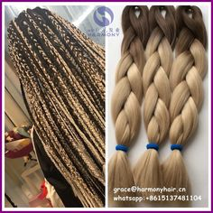 """Look what I found on AliExpress FREE SHIPPING (10ppacks/lot) 24"""" 100g synthetic ombre 2 tone color braiding hair brown+24# blonde color to make box braids"""