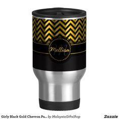 Girly Black Gold Chevron Pattern Monogram 15 Oz Stainless Steel Travel Mug