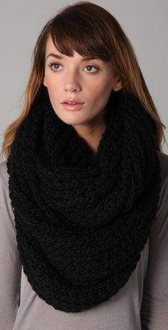 paula-bianco-black-chunky-knit-wrap-scarf