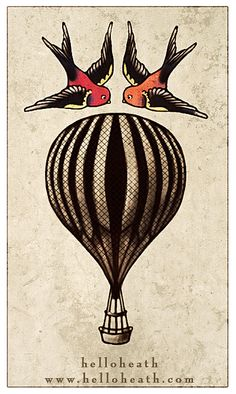 Nautical Balloon Tattoo  by helloheath, via Flickr