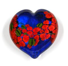 Red Roses Garden Heart on Blue by Shawn Messenger: Art Glass Paperweight available at www.artfulhome.com