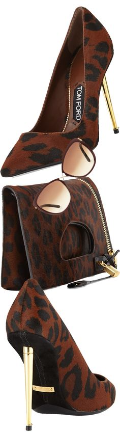 Tom Ford Leopard-Print Calf Hair Pointed-Toe Pump and Tom Ford Alix Calf Hair Zip & Padlock Crossbody Bag and Tom Ford Celia Metal Cat-Eye Sunglasses in Dark Red
