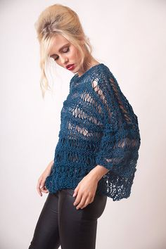 Teal loose sweater, wool knitted, womens winter knit, short sleeved, oversized, fall clothing, boho wear, cozy jumper, comfy grunge clothing