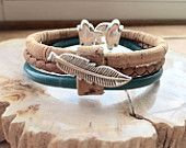 Leather bracelet; Multi-strand cork and turquoise nappa leather bracelet with silver feather and hook clasp; leather jewelry