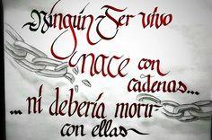64/366 - Ningún ser vivo nace con cadenas ... ..ni debería morir con ellas. #caligrafia #cita #frase #rompercadenas #libertad