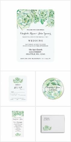 Succulent Watercolor WEDDING SET> Get Your Stamps, Invitations, RSVP, Address Labels & More with one click! YOU CHOOSE~ Easy online ordering and customizing!   ** Save 15% or more with site sales and coupon codes!   #wedding #succulent