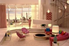 Barbara Novak's apartment is like a Barbie's Dream House come to life. While all of the homes in the Dorris Day tribute Down With Love are remarkable, it is Novak's mid-century-style penthouse that captured our hearts, an exuberant fantasyland featuring white shag carpeting, sherbet colors, and a fire pit. Pinned by Secret Design Studio, Melbourne. ww.secretdesignstudio.com