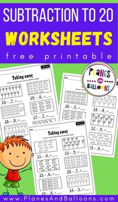 Subtraction worksheets grade 1 FREE printable. Subtraction to 20 with pictures. #firstgrade #planesandballoons Free Kindergarten Worksheets, Subtraction Worksheets, 1st Grade Worksheets, School Worksheets, Free Printable Worksheets, Subtraction Kindergarten, Free Printables, Free Math, Free Fun