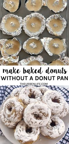 Craving baked donuts but no pan? Here's how to make donuts without a donut pan! All you need is a muffin pan, foil, and a little patience. Plus a recipe for mini powdered apple cider donuts! Homemade baked doughnuts with no doughnut pan Making Donuts, Diy Donuts, Baked Doughnuts, Homemade Donuts, Dairy Free Diet, Dairy Free Recipes, Vegan Recipes, Dairy Free Cookies, Apple Cider Donuts