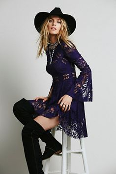 Free People Lovers Folk Song Dress.... @alyraine ....I love this hat! Cute for pictures.
