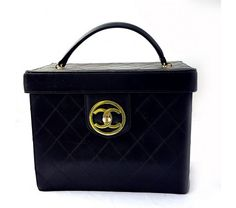 Chanel Vintage Black Quilted Lambskin Vanity Cosmetic Train Case