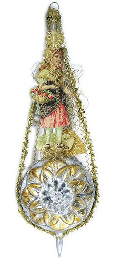 Victorian style blown glass and crinkle wire ornament from Germany