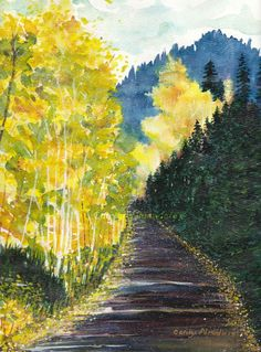 """Autumn Mountain Road, Original Watercolor Painting. Majestic pine trees and shimmering aspens in the cool mountain air of autumn. 11"""" x 14"""" Watercolor painting with black mat, unframed."""