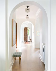 Entry hallway, entry stairs, home decor inspiration, interior design insp. Home Interior, Interior And Exterior, Arched Interior Doors, Arched Doors, Wood Interior Design, Scandinavian Interior, Br House, Home Luxury, Ikea Family