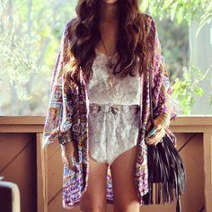aztec kimono, lace romper