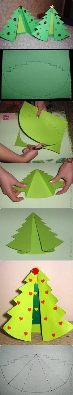 handmade Christmas tree card ... fun fold ... opens like a gatefold ... clear photo tutorial ... like it!