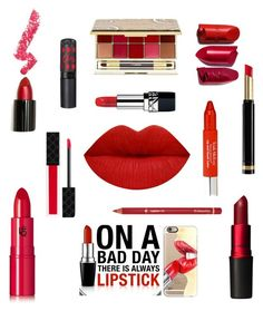 """Red Lips!"" by im-karla-with-a-k ❤ liked on Polyvore featuring beauty, MAC Cosmetics, Lipstick Queen, By Terry, Trish McEvoy, Gucci, Lime Crime, Casetify, Rimmel and Christian Dior"