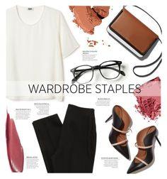 """""""Wardrobe Staple: White T-Shirt"""" by alessandra-mv ❤ liked on Polyvore featuring Malone Souliers, Bobbi Brown Cosmetics and wordrobestaple"""