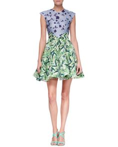 Holly Colorblock Botanical Cap-Sleeve Dress, Multicolor by Elle Sasson at Neiman Marcus.