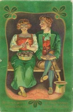 Vintage St Patrick's Day postcard - romantic couple peeling potatoes! Circa 1910